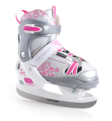 Łyżwy hokejowe regulowane Ice-082 girl srebrno-różowe